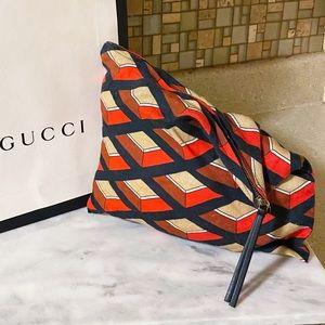 Auth. Gucci Rare VIP Colorful Fabric Pouch Bag